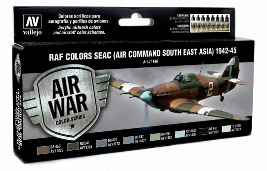 RAF Colors SEAC (Air Command South East Asia) 1942-1945 Model Air Paint Set (8 Colors)