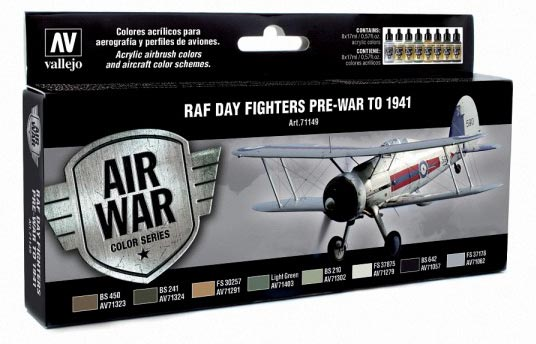 RAF Day Fighter Pre-War to 1941 Model Air Paint Set (8 Colors)