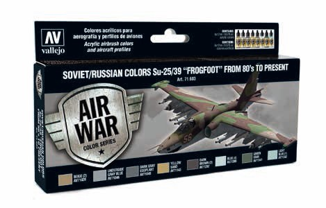 Soviet/Russian Colors Su25/39 Frogfoot from 80s to Present Model Air Paint Set (8 Colors)