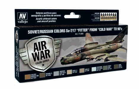 Model Air Soviet/Russian Colors Su7/17 Fitter from Cold War to 90s Paint Set (8 Colors)