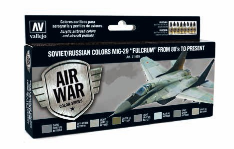 Model Air Soviet/Russian Colors MiG29 Fulcrum from 80s to Present Paint Set (8 Colors)