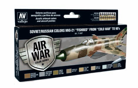 Model Air Soviet/Russian Colors MiG21 Fishbed from Cold War to 90s Paint Set (8 Colors)