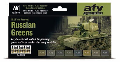 Russian Greens 1928s to Present Model Air Paint Set (8 Colors)
