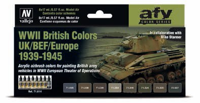 WWII British Colors UK/BEF/Europe 1939-1945 Model Air Paint Set (8 Colors)