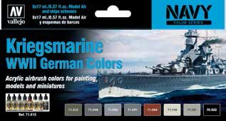 Kriegsmarine WWII German Navy Colors Model Air Paint Set (8 Colors)