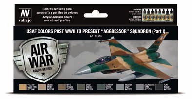 USAF Colors Post WWII to Present Aggressor Squadron Part 1 Model Air Paint Set (8 Colors)