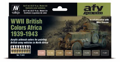 WWII British Colors Africa 1939-1943 Model Air Paint Set (8 Colors)