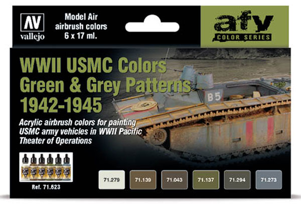 WWII USMC Green and Grey Patterns 1942-1945 Model Air AFV Paint Set (6 Colors)