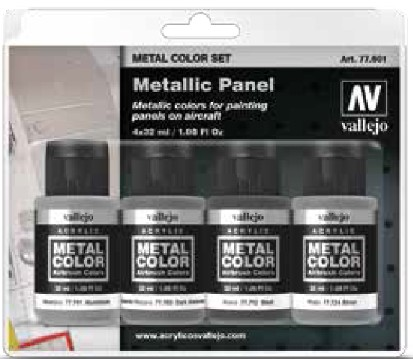 Metallic Aircraft Panel Metal Color Paint Set (4 Colors)