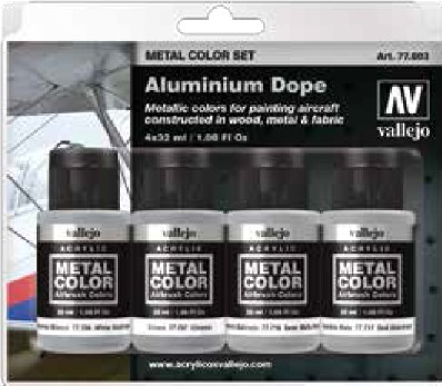 Aluminum Aircraft Dope Metal Color Paint Set (4 Colors)