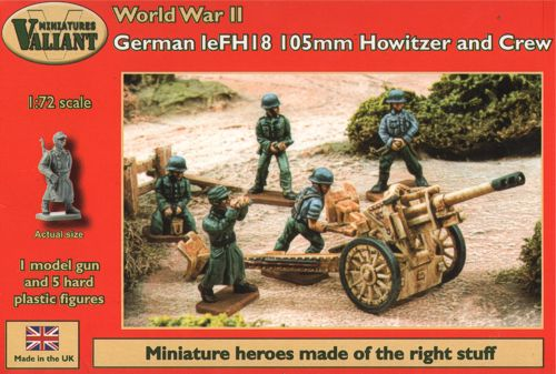 WWII German leFH18 105mm Howitzer Gun with 5 Crew