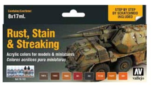 Rust, Stain & Streaking Model Color Paint Set (8 Colors)