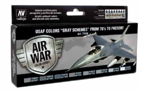 USAF Colors Gray Schemes from 70s to Present Model Air Paint Set (8 Colors)