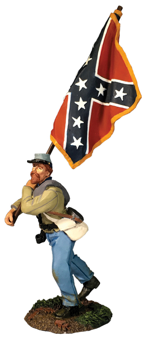 Confederate Advancing With Army of Northern Virginia Flag