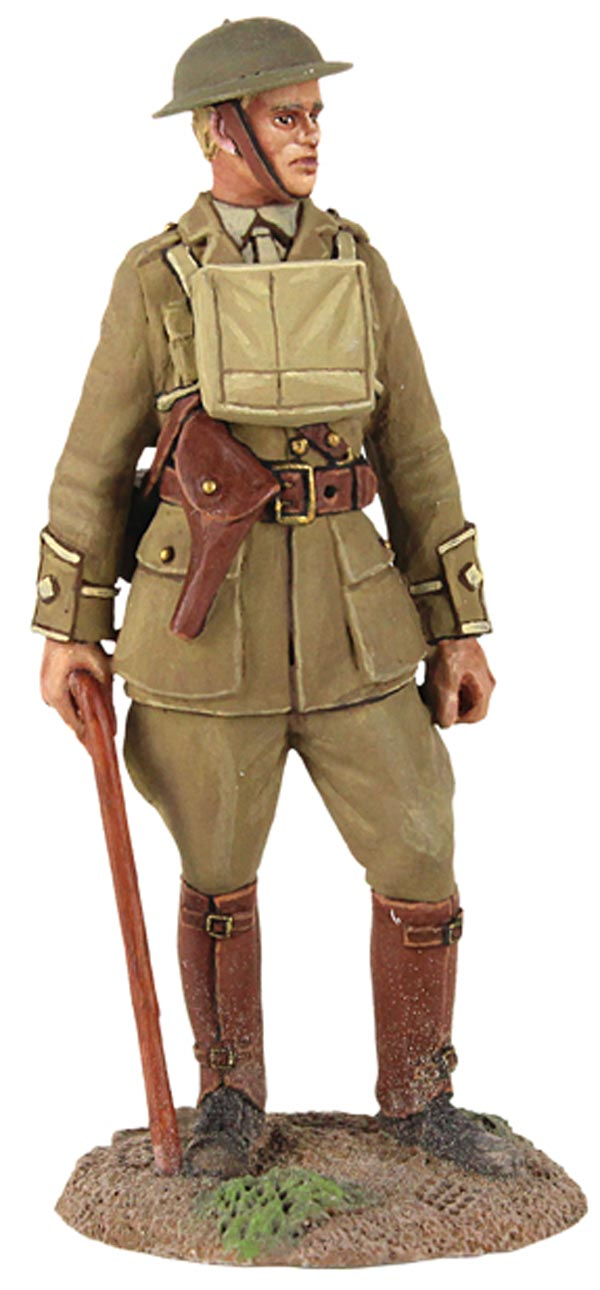 WWI British Infantry 1916-17 Officer Standing with Walking Stick