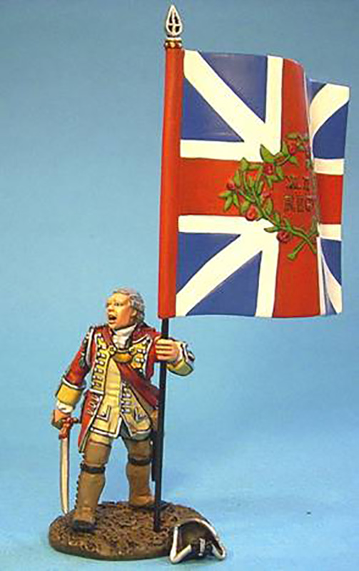 BATTLE ON THE MONONGAHELA 1755 - BRITISH OFFICER WITH COLORS #BM-11 - 1 AVAILABLE OOP