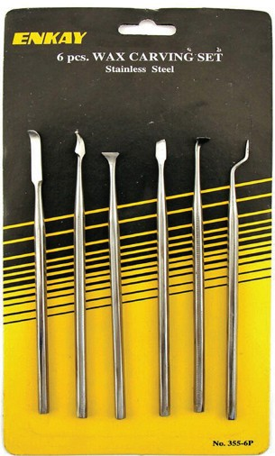 6pc Assorted Stainless Steel Wax/Putty Carving Set
