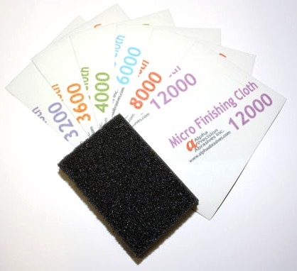 3x4 Micro Finishing Cloth Abrasive Sheets w/Foam Back-Up Pad (6 diff grits/Bag)