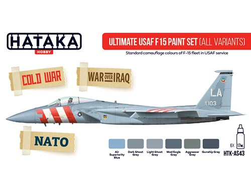 Red Line: Ultimate USAF F-15 paint set (all variants) 6 colors optimized for airbrush