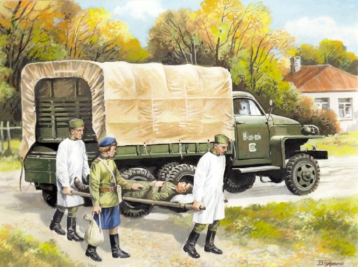 WWII Studebaker US6 Army Truck w/Soviet Medical Personnel