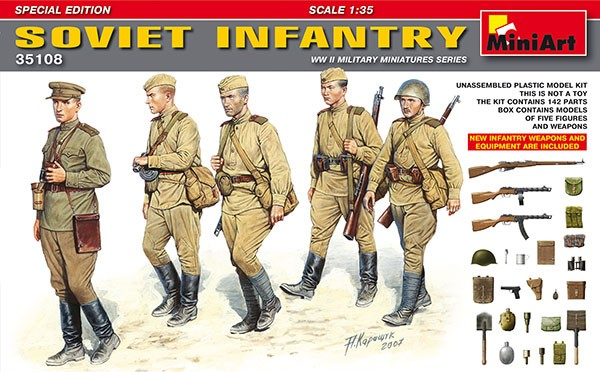 Soviet Infantry (5) w/Weapons & Equipment