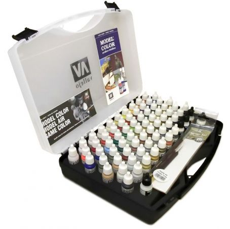 Vallejo Model Color Basic Paint Set Carry Case (72 colors + 3 brushes + carry case)