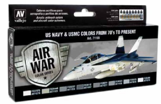 US Navy & USMC Colors from 70s to Present Model Air Paint Set (8 Colors)