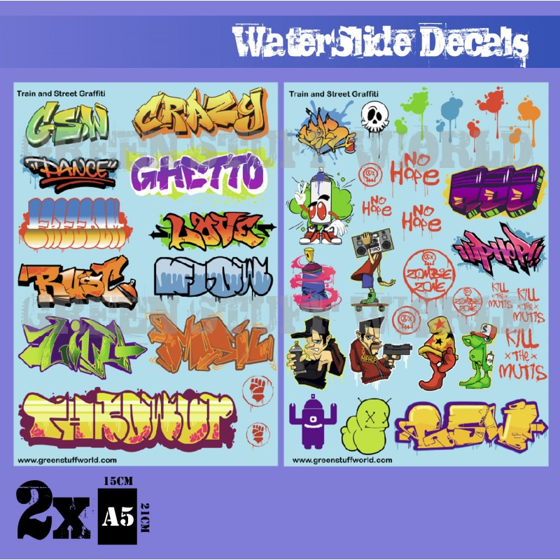 Waterslide Decals - Train and Graffiti Mix