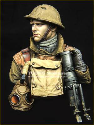 Young Miniatures British Lewis Gunner WW1 1//10th YM1875 Unpainted Bust kit